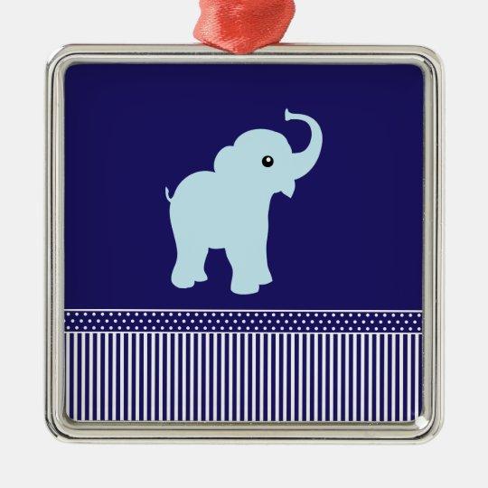 Elephant cute polka dots & stripes blue ornament