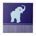 Elephant cute polka dots stripes blue tile, trivet