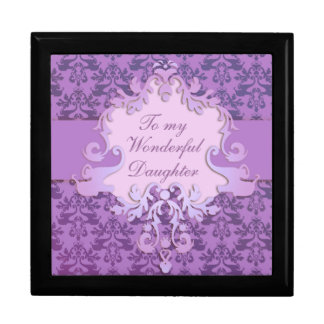 "Elephant damask ""daughter"" gift box lillac/mauve"