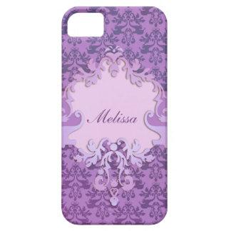 Elephant damask lilac name iphone case iPhone 5 cases