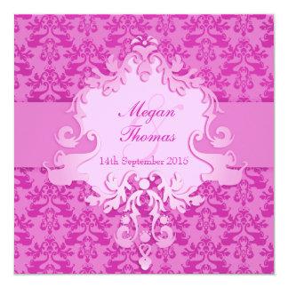 "Elephant damask mauve wedding square invitation 5.25"" square invitation card"