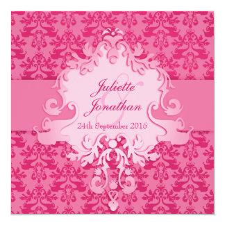Elephant damask pink wedding square invitation