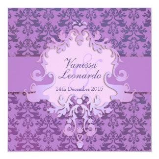 Elephant damask purple square wedding invitation