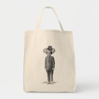 Elephant dandy grocery tote bag