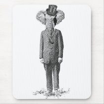 vintage, dandy, cool, elephant, hipster, funny, humor, retro, animal, classy, fun, class, mousepad, Mouse pad com design gráfico personalizado