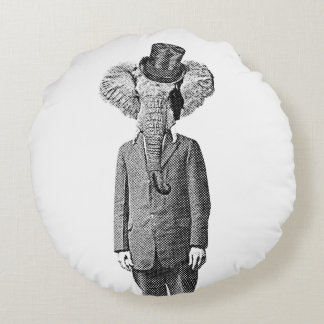 Elephant dandy round pillow