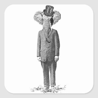 Elephant dandy square sticker
