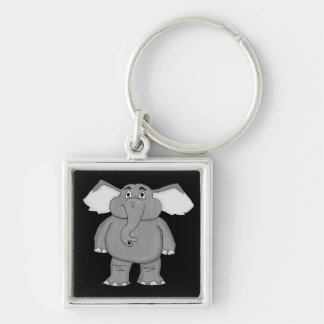 Elephant design matching jewelry set Silver-Colored square keychain