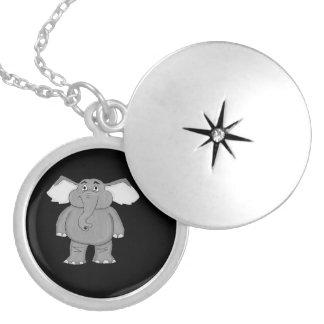 Elephant design matching jewelry set round locket necklace