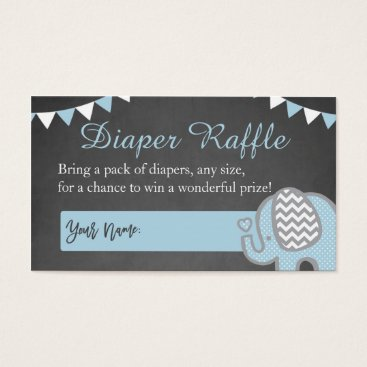 Toddler & Baby themed Elephant Diaper Raffle Cards for a Boy