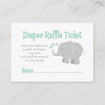 Elephant Diaper Raffle Ticket | Mint Green Enclosure Card
