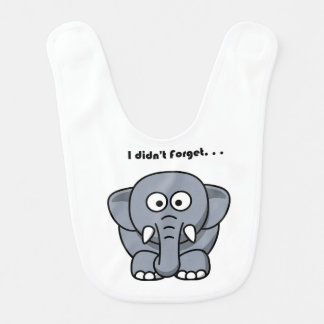 Elephant Didn't Forget Cartoon Baby Bib
