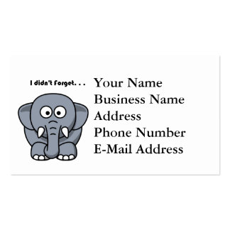 Elephant Didn't Forget Cartoon Double-Sided Standard Business Cards (Pack Of 100)