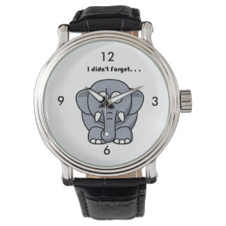 Elephant Didn't Forget Cartoon Wristwatch