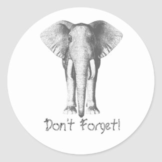 Elephant -- Don't Forget! Classic Round Sticker