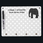 """Elephant Dorm Room Notes Dry Erase Board With Keychain Holder<br><div class=""""desc"""">Use this dry-erase white board for your college or university dorm room notes.   A cute elephant silhouette design is featured on this whiteboard.  The elephant is designed with a black and white polka dot pattern and is set against a gray and white monochrome polka dots background.</div>"""