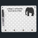 "Elephant Dorm Room Notes Dry Erase Board With Keychain Holder<br><div class=""desc"">Use this dry-erase white board for your college or university dorm room notes.   A cute elephant silhouette design is featured on this whiteboard.  The elephant is designed with a black and white polka dot pattern and is set against a gray and white monochrome polka dots background.</div>"