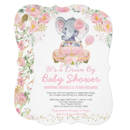 Elephant Drive By Baby Shower Parade Invitation