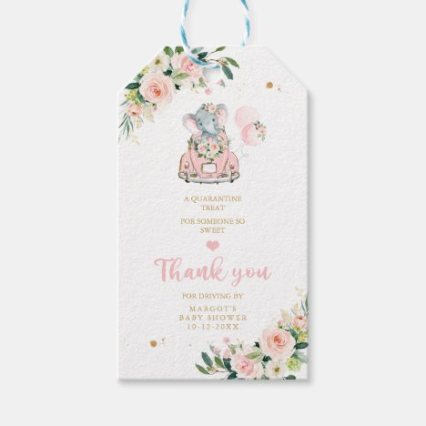 Elephant Drive By Baby Shower Pink Rose Gift Tags