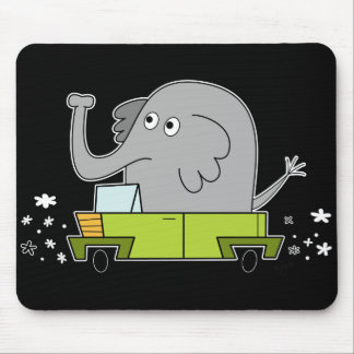 Elephant Driving a Car - Mouse Pad