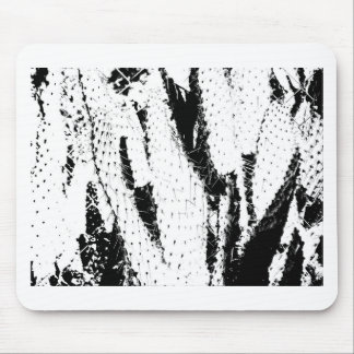 Elephant Ear Cactus in Black and White Mouse Pad