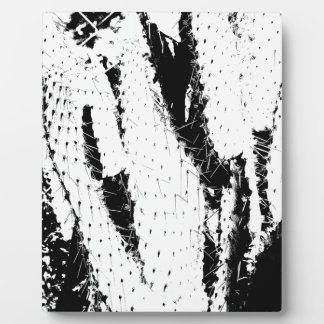 Elephant Ear Cactus in Black and White Plaque