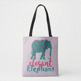 Elephant Elegant Floral Funny Ladylike Silhouette Tote Bag