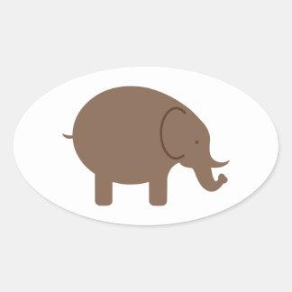 Elephant Elephants Pachyderm Cute Cartoon Animal Oval Sticker