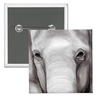 Elephant Elephants Wildlife Charcoal Drawing Button