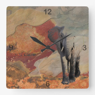 Elephant Evolving from the Stone Square Wall Clock