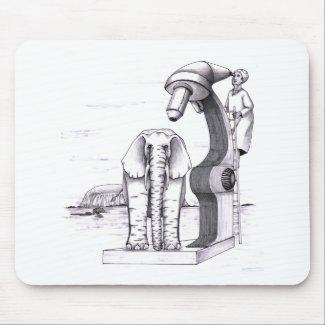 Elephant examined under huge microscope outside mousepad