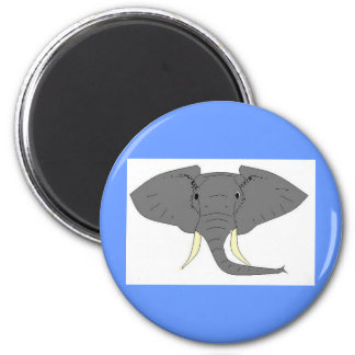 Elephant Face 2 Inch Round Magnet