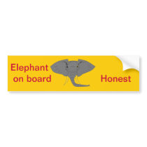 Elephant Face Bumper Sticker