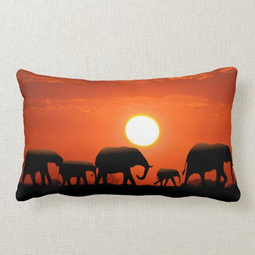 Elephant family and African mud cloth Throw Pillows