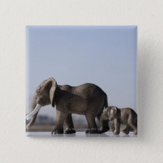 Elephant Family background blue sky Pinback Button
