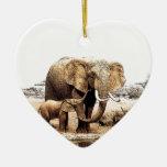 Elephant Family Ceramic Ornament