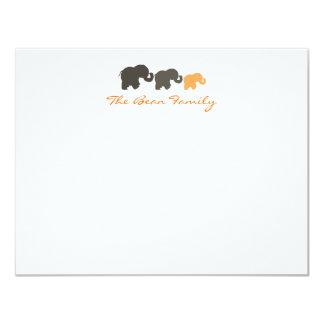 Elephant Family Flat Notecards 4.25x5.5 Paper Invitation Card