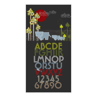Elephant Family Forest Alphabet Numbers Wall Art