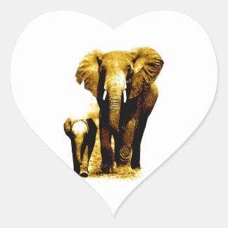Elephant Family Heart Sticker