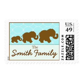 Elephant Family in Chocolate Postage Stamp