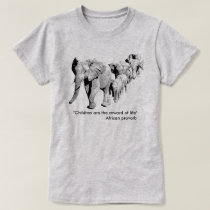 Elephant Family in Procession | African Wildlife T-Shirt