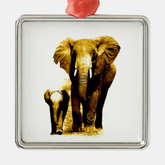 Elephant Family Metal Ornament