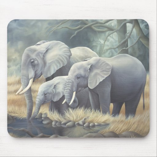 """Elephant Family"" Mousemat Mouse Pad"
