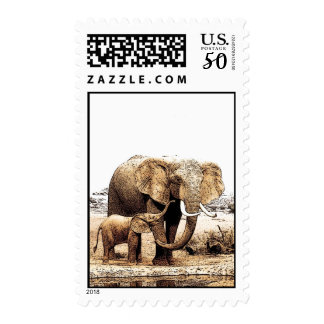 Elephant Family Stamps