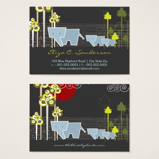 Elephant Family Trio In The Forest Profile Cards