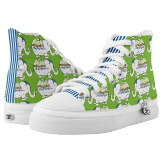 Elephant Fancy Green and Blue Printed Shoes