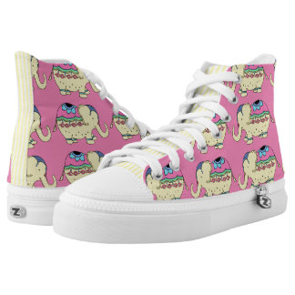 Elephant Fancy Pink and Yellow Printed Shoes