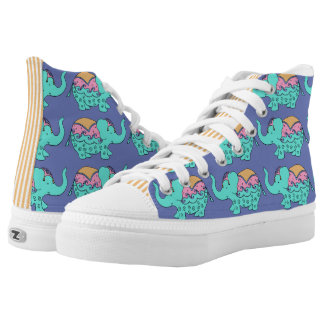 Elephant Fancy Turquoise and Periwinkle Printed Shoes