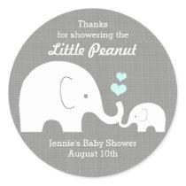 Elephant Favor Tag, Little Peanut BlueHearts Classic Round Sticker