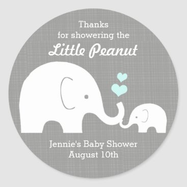 Valentines Themed Elephant Favor Tag, Little Peanut BlueHearts Classic Round Sticker